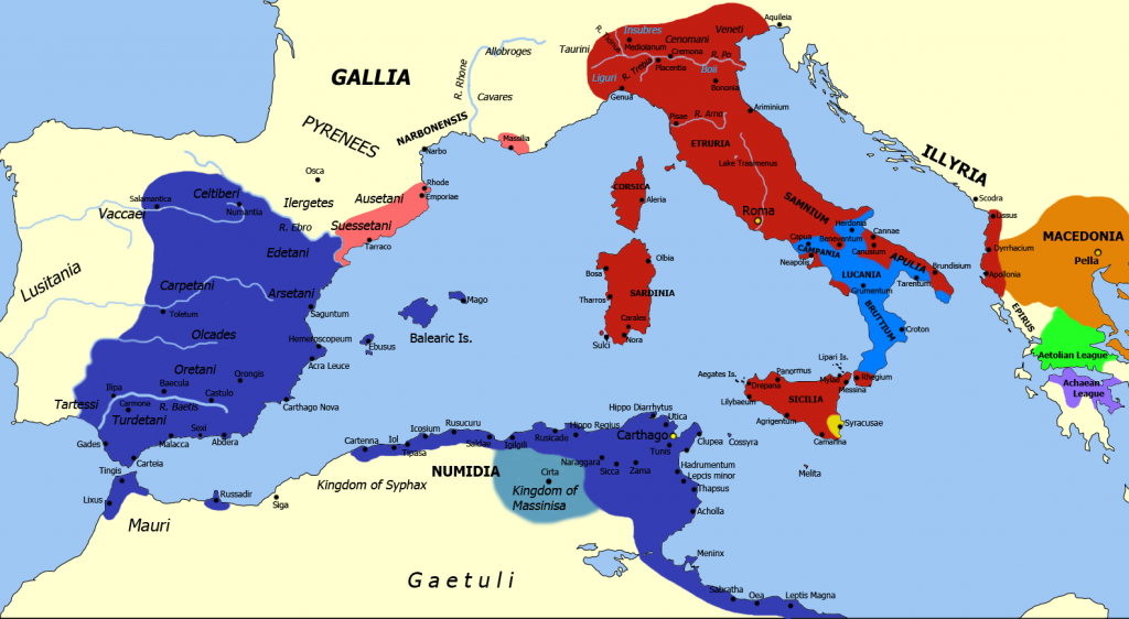 Second Punic War Map 218-202 B.C.