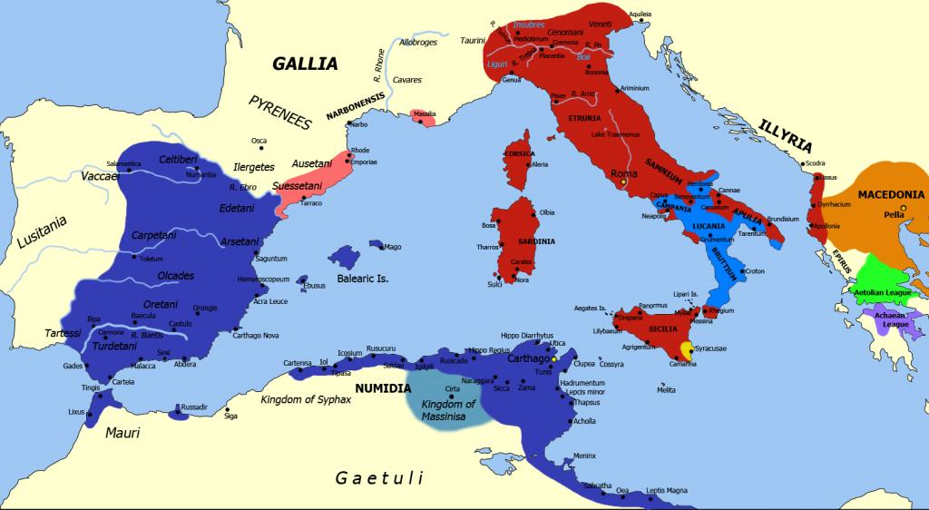 Second Punic War Map 218-202 B.C.