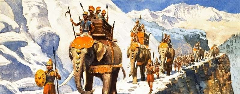 Hannibal crosses the Alps with elephants.