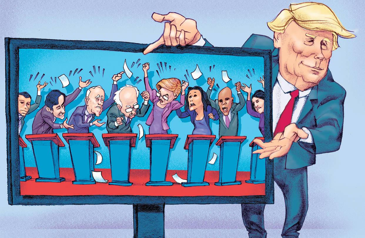 Donald Trump vs Joe Biden cartoon