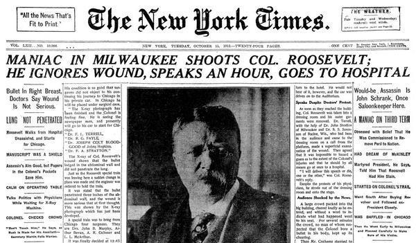 Theodore Roosevelt shot 1912